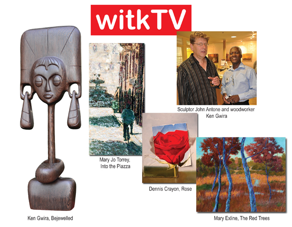 WITKTV was at the Arts Barn in Gaithersburg, MD U.S.A. for the reception of an art exhibition on Tuesday, August 13.  It was a pleasant evening, cooler than usual and a relief from the humid summer heat. There are four artists in this exceptional display. Dennis Crayon is a contemporary realist painter, who uses  modern composition aesthetics. Mary Exline enjoys the interplay of abstracted forms with natural elements, such as trees and blades of grass. Mary Jo Torrey has a expert hand in using the Encaustic paintng technique.  This is a must see exhibition.